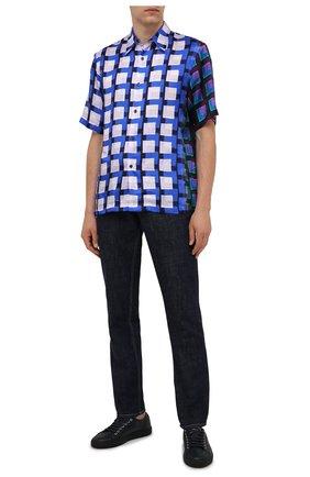 Мужские кожаные кеды BRIONI темно-синего цвета, арт. QHH40L/P7731 | Фото 2 (Материал внутренний: Натуральная кожа; Подошва: Массивная)