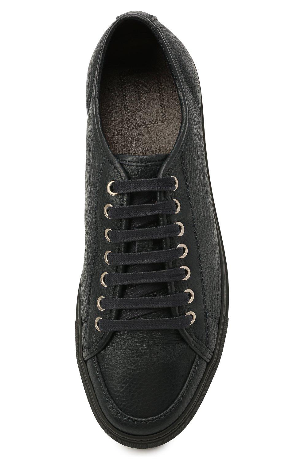 Мужские кожаные кеды BRIONI темно-синего цвета, арт. QHH40L/P7731   Фото 5 (Материал внутренний: Натуральная кожа; Подошва: Массивная)