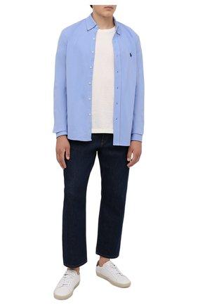 Мужская хлопковая рубашка POLO RALPH LAUREN голубого цвета, арт. 710654408/C7998   Фото 2