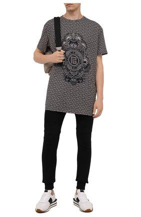 Мужская хлопковая футболка BALMAIN бежевого цвета, арт. WH1EH000/G071 | Фото 2