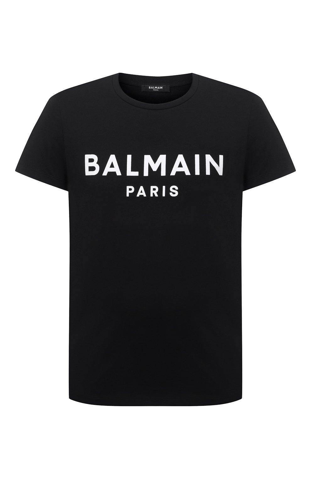 Мужская хлопковая футболка BALMAIN черного цвета, арт. WH1EF000/B124   Фото 1 (Рукава: Короткие; Длина (для топов): Стандартные; Стили: Гранж; Принт: С принтом; Материал внешний: Хлопок)