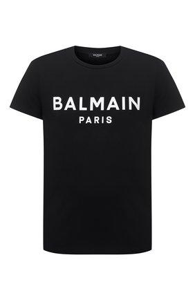 Мужская хлопковая футболка BALMAIN черного цвета, арт. WH1EF000/B124 | Фото 1