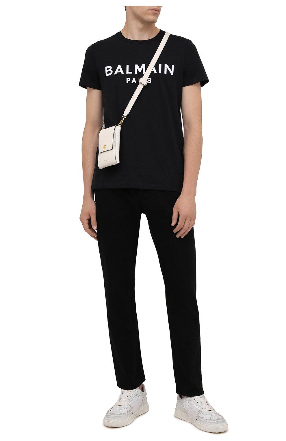 Мужская хлопковая футболка BALMAIN черного цвета, арт. WH1EF000/B124   Фото 2 (Рукава: Короткие; Длина (для топов): Стандартные; Стили: Гранж; Принт: С принтом; Материал внешний: Хлопок)