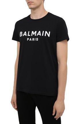 Мужская хлопковая футболка BALMAIN черного цвета, арт. WH1EF000/B124   Фото 3 (Рукава: Короткие; Длина (для топов): Стандартные; Стили: Гранж; Принт: С принтом; Материал внешний: Хлопок)