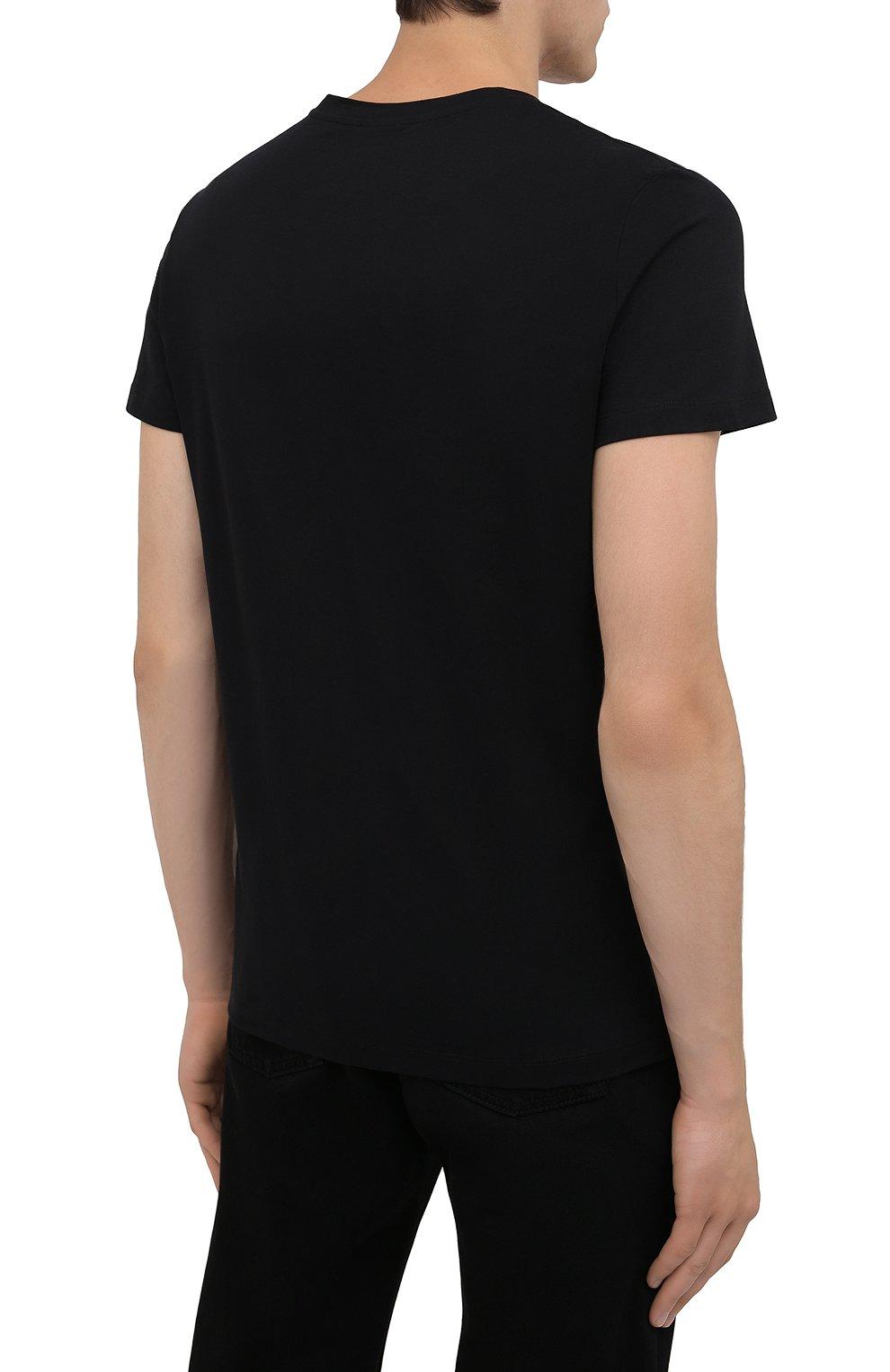 Мужская хлопковая футболка BALMAIN черного цвета, арт. WH1EF000/B124   Фото 4 (Рукава: Короткие; Длина (для топов): Стандартные; Стили: Гранж; Принт: С принтом; Материал внешний: Хлопок)