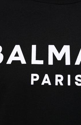 Мужская хлопковая футболка BALMAIN черного цвета, арт. WH1EF000/B124   Фото 5 (Рукава: Короткие; Длина (для топов): Стандартные; Стили: Гранж; Принт: С принтом; Материал внешний: Хлопок)