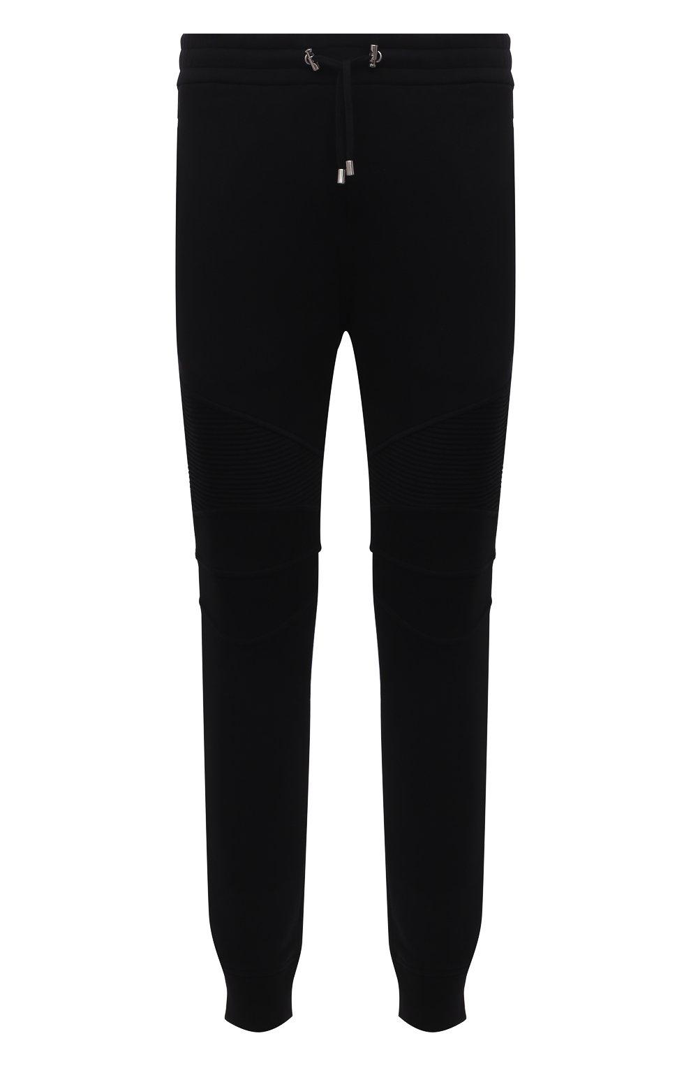 Мужские хлопковые джоггеры BALMAIN черного цвета, арт. WH10B000/B115   Фото 1 (Мужское Кросс-КТ: Брюки-трикотаж; Длина (брюки, джинсы): Стандартные; Материал внешний: Хлопок; Стили: Спорт-шик; Силуэт М (брюки): Джоггеры)