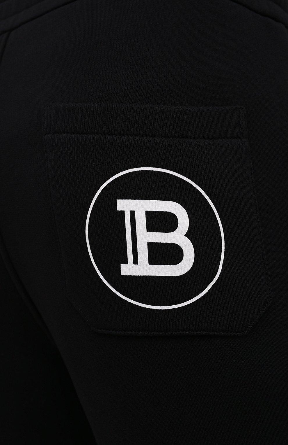 Мужские хлопковые джоггеры BALMAIN черного цвета, арт. WH10B000/B115   Фото 5 (Мужское Кросс-КТ: Брюки-трикотаж; Длина (брюки, джинсы): Стандартные; Материал внешний: Хлопок; Стили: Спорт-шик; Силуэт М (брюки): Джоггеры)