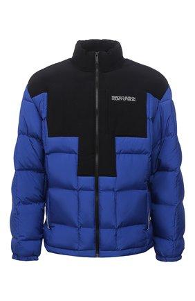 Мужская утепленная куртка MARCELO BURLON синего цвета, арт. CMED031F21FAB001 | Фото 1 (Материал подклада: Синтетический материал; Материал внешний: Синтетический материал; Кросс-КТ: Куртка; Мужское Кросс-КТ: пуховик-короткий; Длина (верхняя одежда): Короткие; Стили: Гранж; Рукава: Длинные)