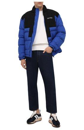 Мужская утепленная куртка MARCELO BURLON синего цвета, арт. CMED031F21FAB001 | Фото 2 (Материал подклада: Синтетический материал; Материал внешний: Синтетический материал; Кросс-КТ: Куртка; Мужское Кросс-КТ: пуховик-короткий; Длина (верхняя одежда): Короткие; Стили: Гранж; Рукава: Длинные)