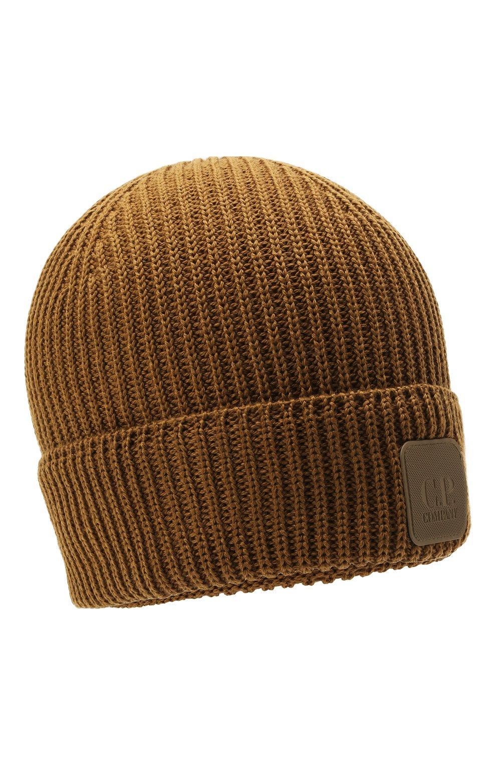 Мужская шерстяная шапка C.P. COMPANY коричневого цвета, арт. 11CMAC121A-005509A   Фото 1 (Материал: Шерсть; Кросс-КТ: Трикотаж)