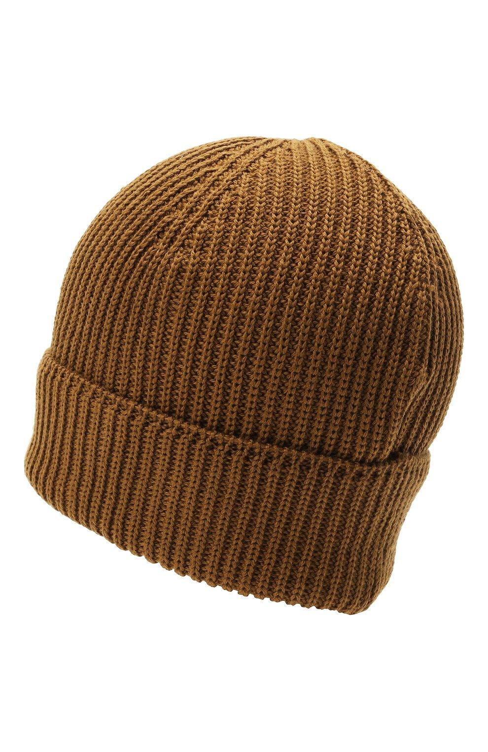 Мужская шерстяная шапка C.P. COMPANY коричневого цвета, арт. 11CMAC121A-005509A   Фото 2 (Материал: Шерсть; Кросс-КТ: Трикотаж)