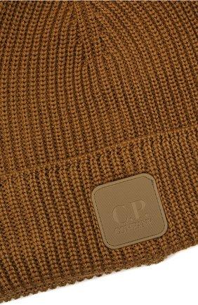 Мужская шерстяная шапка C.P. COMPANY коричневого цвета, арт. 11CMAC121A-005509A   Фото 3 (Материал: Шерсть; Кросс-КТ: Трикотаж)