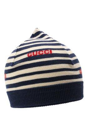 Детского шерстяная шапка GUCCI синего цвета, арт. 658497/3K206 | Фото 1