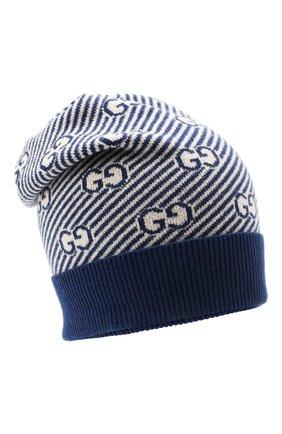 Детского шерстяная шапка GUCCI синего цвета, арт. 645515/4K206 | Фото 1