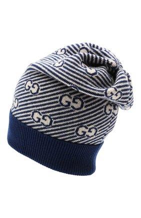 Детского шерстяная шапка GUCCI синего цвета, арт. 645515/4K206 | Фото 2