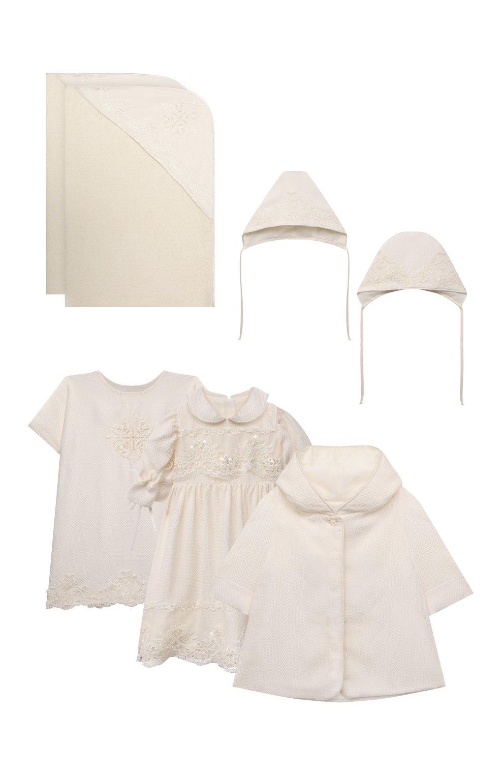 Детского комплект из семи изделий кружевной premium CHEPE кремвого цвета, арт. 351388   Фото 1 (Материал внешний: Хлопок; Ростовка одежда: 3 мес   62 см)