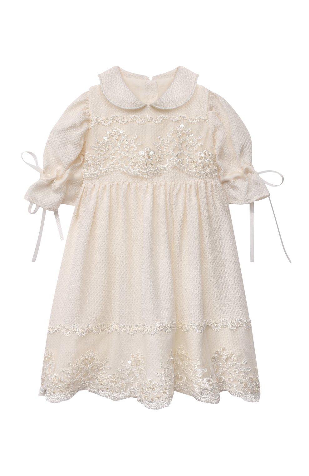 Детского комплект из семи изделий кружевной premium CHEPE кремвого цвета, арт. 351388   Фото 15 (Материал внешний: Хлопок; Ростовка одежда: 3 мес   62 см)