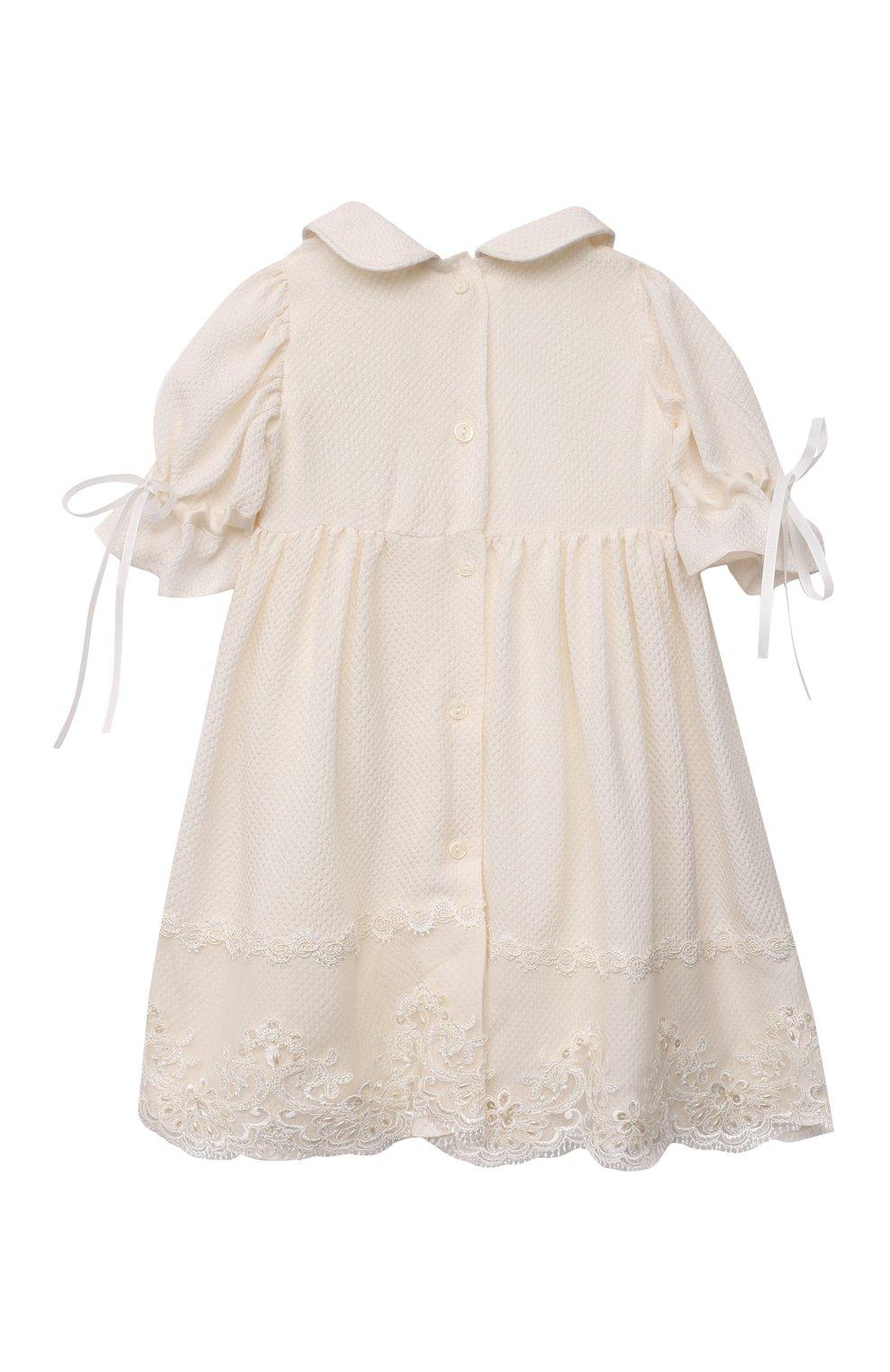 Детского комплект из семи изделий кружевной premium CHEPE кремвого цвета, арт. 351388   Фото 16 (Материал внешний: Хлопок; Ростовка одежда: 3 мес   62 см)