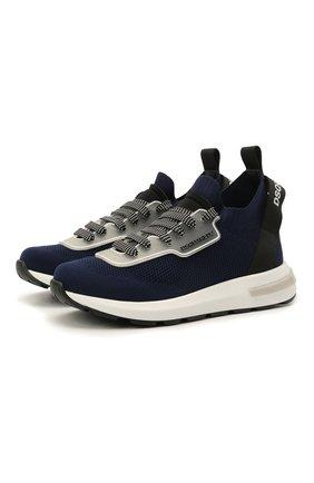Детские текстильные кроссовки DSQUARED2 синего цвета, арт. 68555/T0MAIA/NAKAI/28-35   Фото 1
