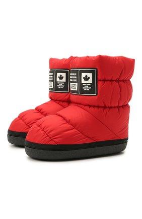 Детские утепленные сапоги DSQUARED2 красного цвета, арт. 68596/PIUM./SCUBA/35-41 | Фото 1 (Материал внешний: Текстиль; Материал внутренний: Текстиль)