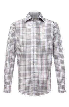 Мужская хлопковая рубашка CANALI бежевого цвета, арт. N705/GR02328 | Фото 1 (Рукава: Длинные; Материал внешний: Хлопок; Длина (для топов): Стандартные; Случай: Повседневный; Стили: Кэжуэл; Рубашки М: Slim Fit; Воротник: Акула; Принт: Клетка; Манжеты: На пуговицах)