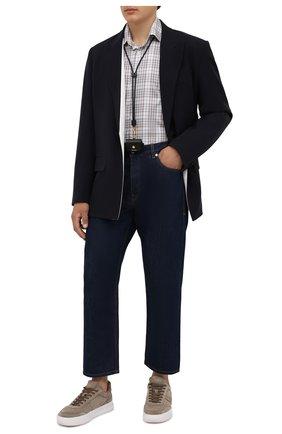 Мужская хлопковая рубашка CANALI бежевого цвета, арт. N705/GR02328 | Фото 2 (Рукава: Длинные; Материал внешний: Хлопок; Длина (для топов): Стандартные; Случай: Повседневный; Стили: Кэжуэл; Рубашки М: Slim Fit; Воротник: Акула; Принт: Клетка; Манжеты: На пуговицах)
