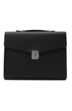 Мужской кожаный портфель SANTONI черного цвета, арт. UFBBA1992F0-GMA1N01 | Фото 1 (Материал: Натуральная кожа; Ремень/цепочка: На ремешке)