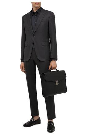 Мужской кожаный портфель SANTONI черного цвета, арт. UFBBA1992F0-GMA1N01 | Фото 2 (Материал: Натуральная кожа; Ремень/цепочка: На ремешке)