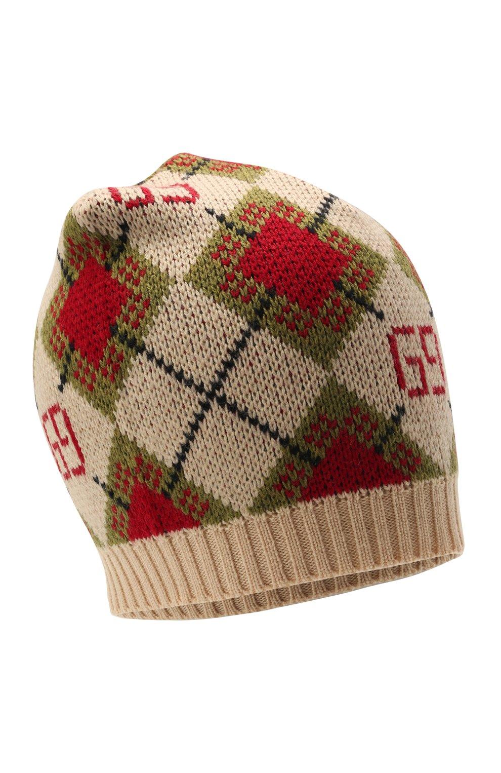 Детского шерстяная шапка GUCCI бежевого цвета, арт. 660634/4K206   Фото 1 (Материал: Шерсть)