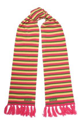 Детский шерстяной шарф GUCCI разноцветного цвета, арт. 660625/4K206 | Фото 1 (Материал: Шерсть)