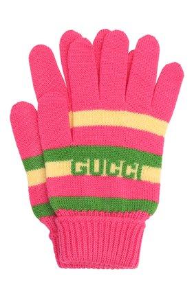 Детские шерстяные перчатки GUCCI розового цвета, арт. 660623/4K206 | Фото 1