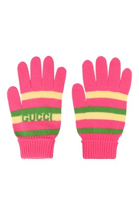 Детские шерстяные перчатки GUCCI розового цвета, арт. 660623/4K206 | Фото 2