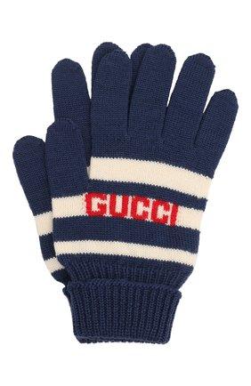 Детские шерстяные перчатки GUCCI синего цвета, арт. 660623/4K206 | Фото 1