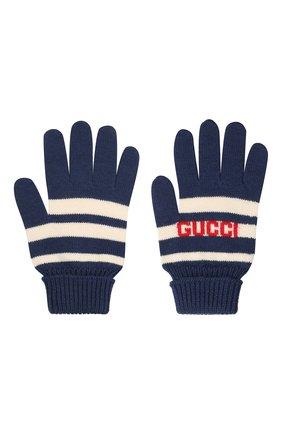 Детские шерстяные перчатки GUCCI синего цвета, арт. 660623/4K206 | Фото 2