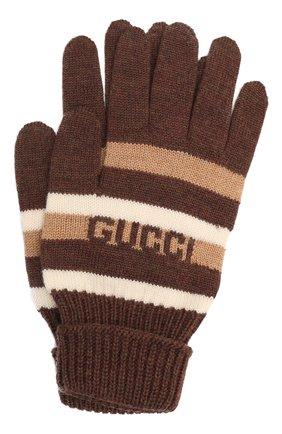 Детские шерстяные перчатки GUCCI коричневого цвета, арт. 660623/4K206 | Фото 1