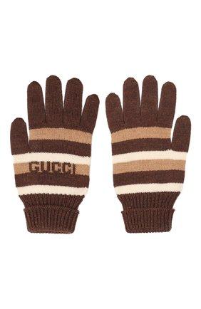 Детские шерстяные перчатки GUCCI коричневого цвета, арт. 660623/4K206 | Фото 2