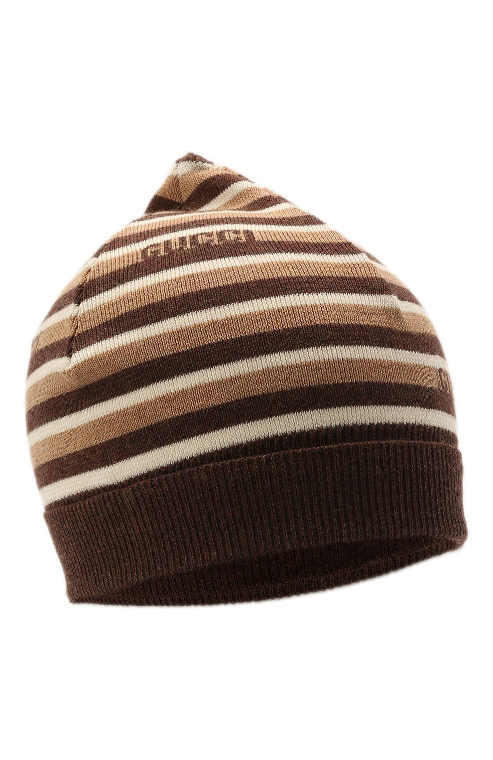 Детского шерстяная шапка GUCCI коричневого цвета, арт. 660617/4K206 | Фото 1 (Материал: Шерсть)
