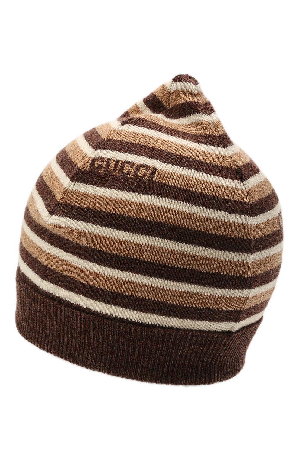 Детского шерстяная шапка GUCCI коричневого цвета, арт. 660617/4K206 | Фото 2 (Материал: Шерсть)