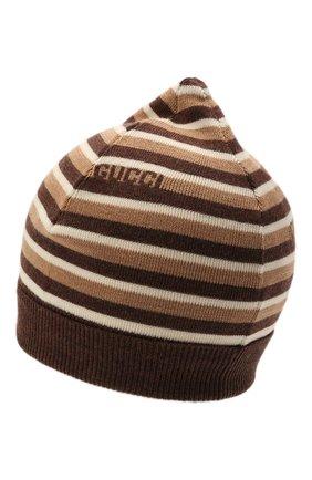 Детского шерстяная шапка GUCCI коричневого цвета, арт. 660617/4K206 | Фото 2