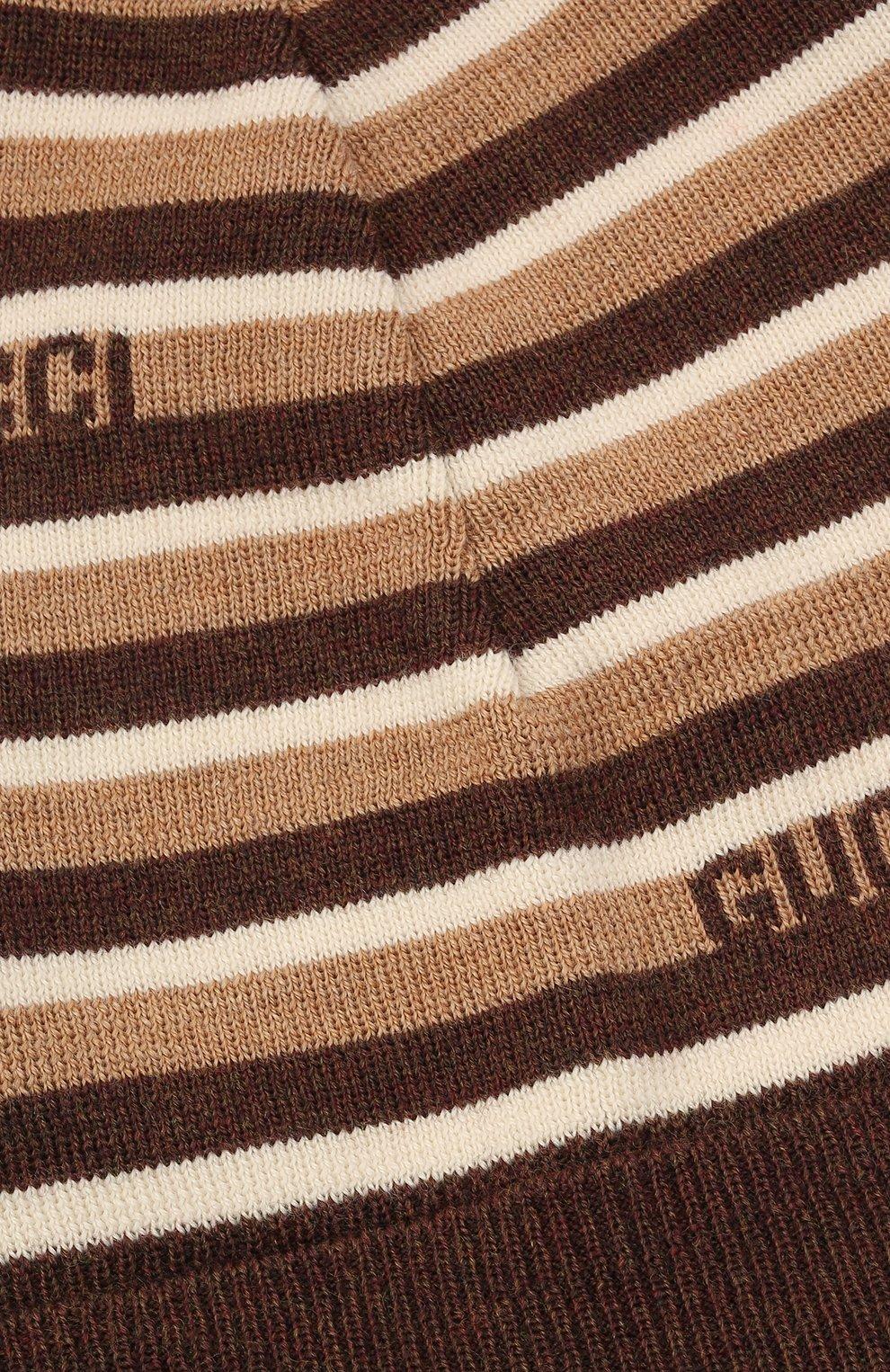 Детского шерстяная шапка GUCCI коричневого цвета, арт. 660617/4K206 | Фото 3 (Материал: Шерсть)