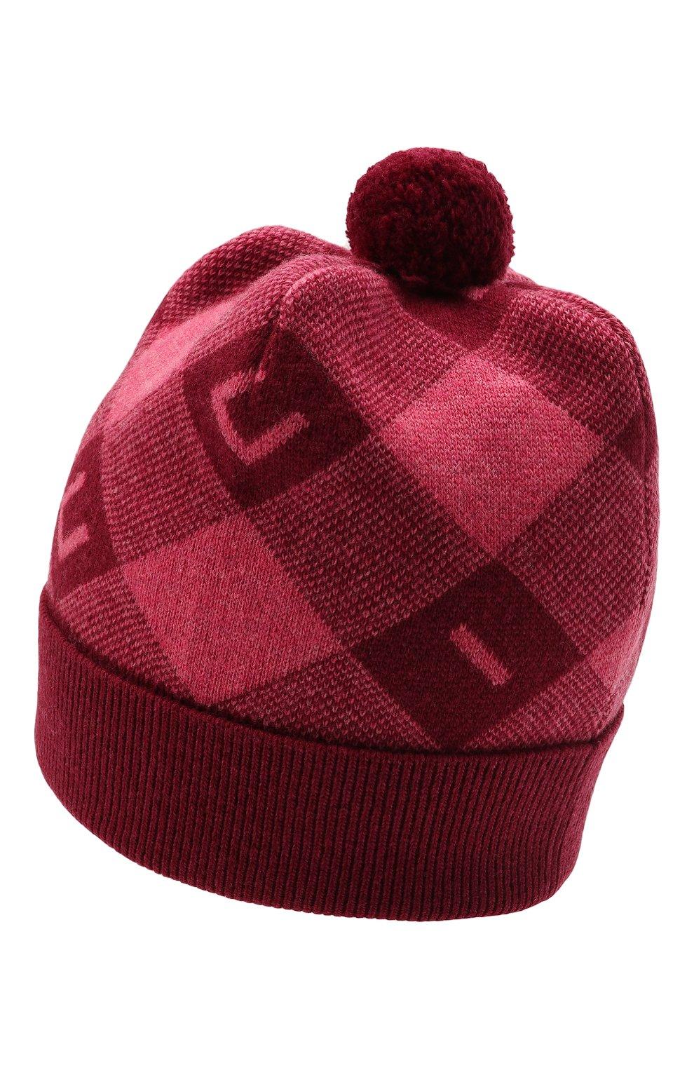 Детского шерстяная шапка GUCCI розового цвета, арт. 658601/4K206 | Фото 2 (Материал: Шерсть)
