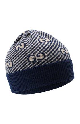 Детского шерстяная шапка GUCCI синего цвета, арт. 651707/3K206 | Фото 1