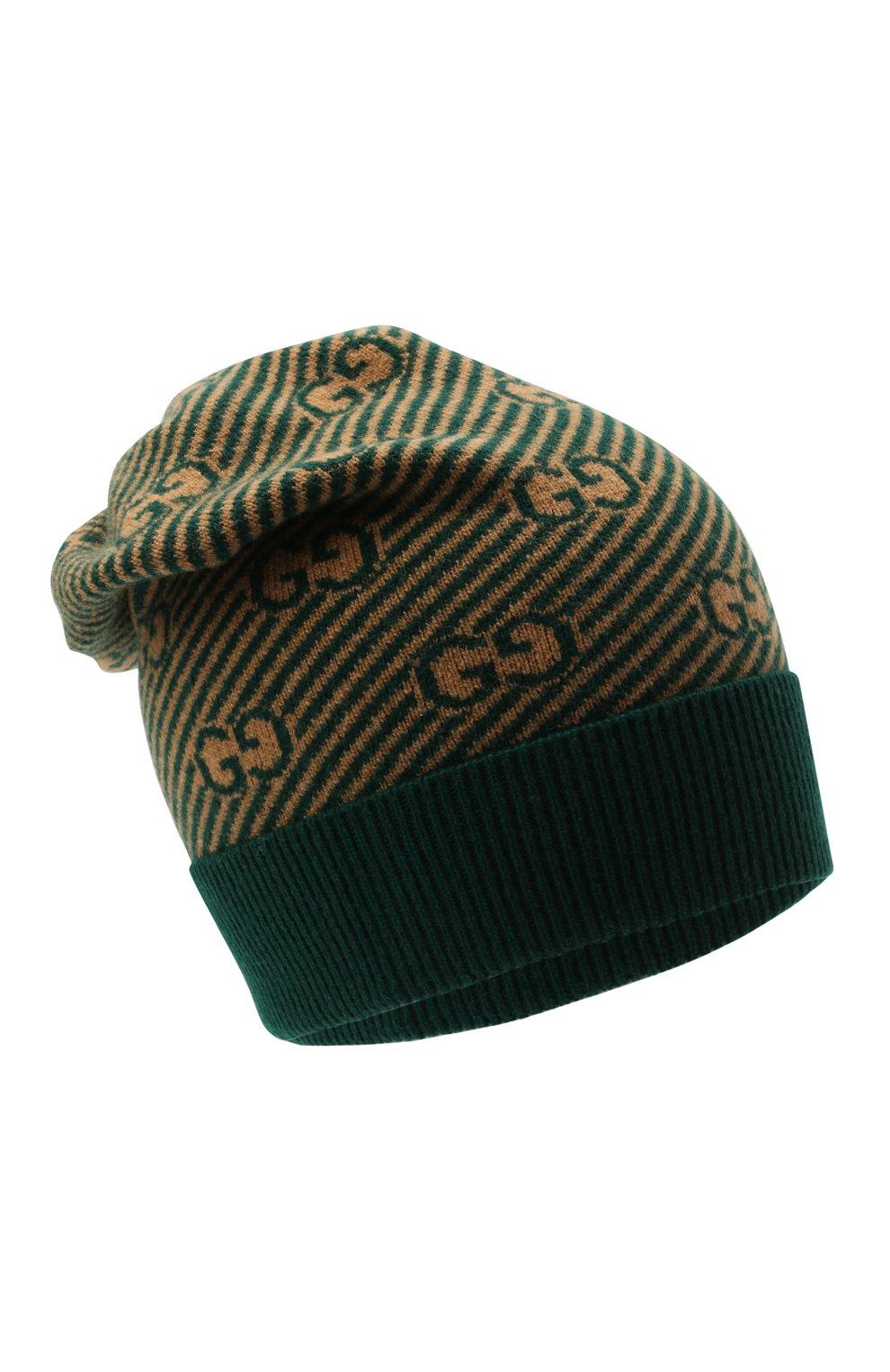 Детского шерстяная шапка GUCCI зеленого цвета, арт. 645515/4K206   Фото 1 (Материал: Шерсть)