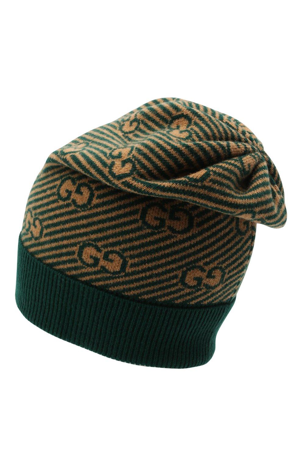 Детского шерстяная шапка GUCCI зеленого цвета, арт. 645515/4K206   Фото 2 (Материал: Шерсть)