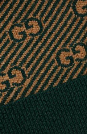 Детского шерстяная шапка GUCCI зеленого цвета, арт. 645515/4K206   Фото 3 (Материал: Шерсть)