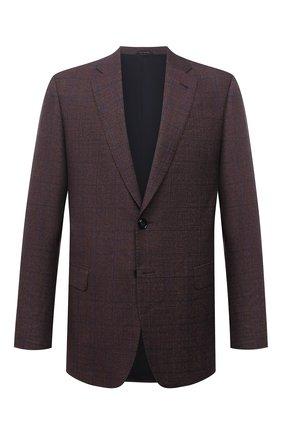 Мужской пиджак из шерсти и кашемира GIORGIO ARMANI коричневого цвета, арт. 8WGGG00K/T02UW | Фото 1 (Длина (для топов): Стандартные; Материал внешний: Шерсть; Материал подклада: Вискоза; Рукава: Длинные; 1-2-бортные: Однобортные; Пиджаки М: Прямой; Случай: Коктейльный; Стили: Классический)