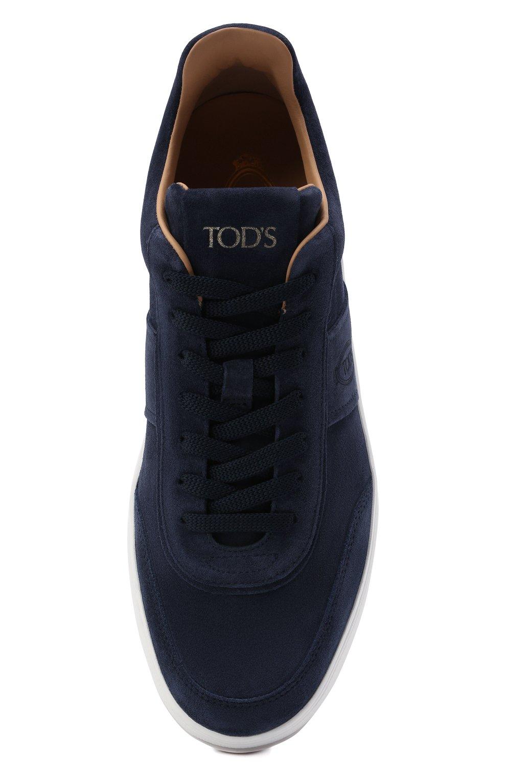 Мужские замшевые кеды TOD'S темно-синего цвета, арт. XXM79B0DP30RE0   Фото 5 (Материал внутренний: Натуральная кожа; Подошва: Массивная; Материал внешний: Замша)