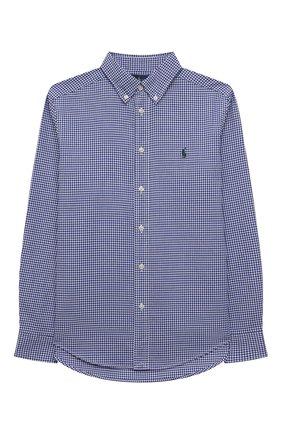Детская хлопковая рубашка POLO RALPH LAUREN синего цвета, арт. 323845293 | Фото 1