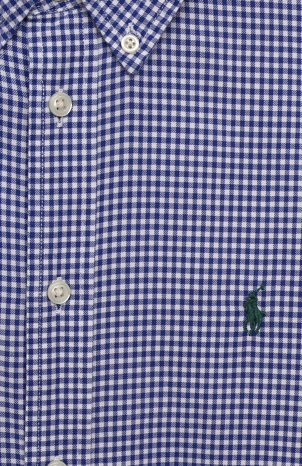 Детская хлопковая рубашка POLO RALPH LAUREN синего цвета, арт. 323845293   Фото 3 (Рукава: Длинные; Случай: Повседневный; Материал внешний: Хлопок; Ростовка одежда: 13 - 15 лет   158 см, 10 - 11 лет   140 - 146см, 9 лет   134 см, 16 лет   164 см)